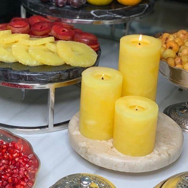شمع ست استوانه ای مرمریت رنگ زرد روشن
