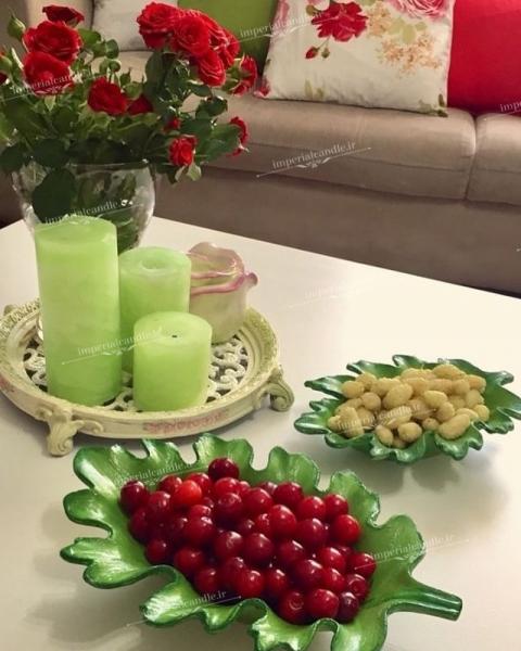 شمع ست استوانه ای مرمریت رنگ سبز