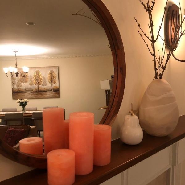 شمع ست استوانه ای مرمریت رنگ نارنجی