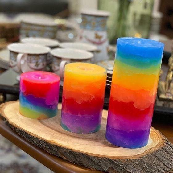 شمع ست استوانه ای مرمریت رنگ رنگین کمانی
