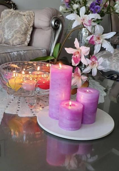 شمع ست استوانه ای مرمریت رنگ بنفش