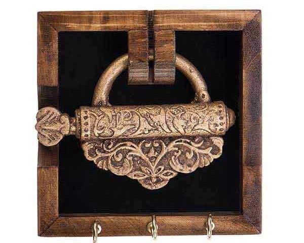 جاکلیدی دیواری طرح قفل درب قدیمی طلایی