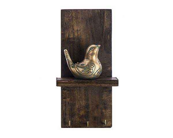 جاکلیدی دیواری طرح پرنده نقره ای