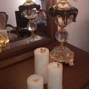 شمع ست استوانه ای مرمریت رنگ صورتی