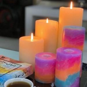 شمع ست استوانه ای مرمریت رنگ رمر روشن (طوسی)