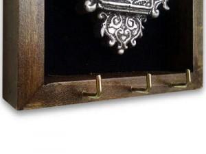 جاکلیدی دیواری طرح قفل لوزی رنگ طلایی