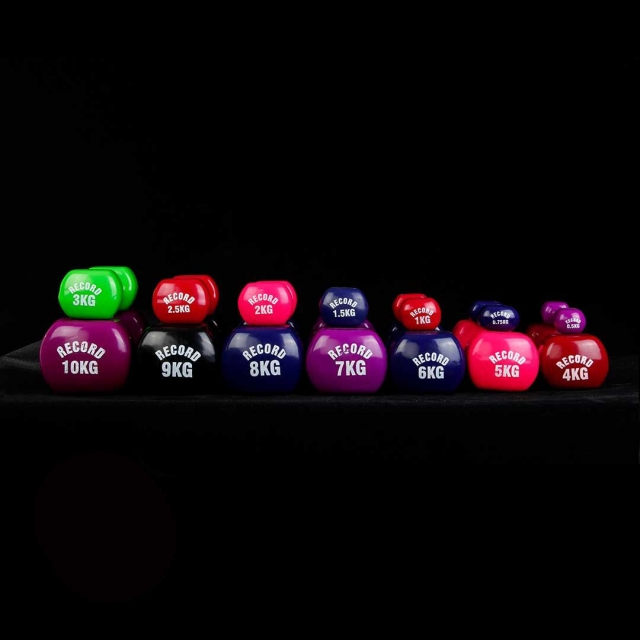 دمبل ایروبیک بانوان روکش دار 0.75 کیلوگرمی رکورد مدل New - دو عددی